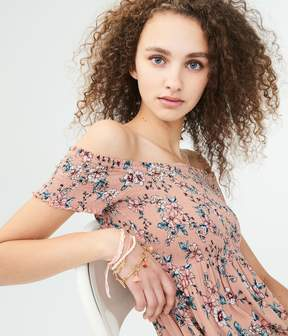 Aeropostale Floral Off-The-Shoulder Midi Dress