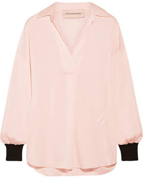 By Malene Birger Agatah Two-tone Ribbed Knit-trimmed Stretch-silk Blouse - Pink