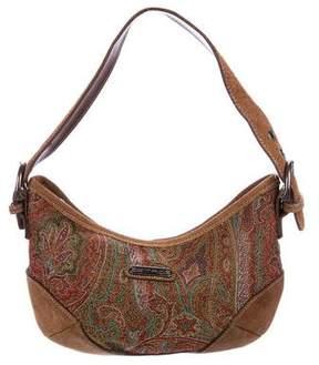 Etro Suede-Trimmed Paisley Shoulder Bag