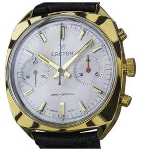 Croton Gold Plated Stainless Steel & Leather Manual Vintage 35mm Men's Watch c1970