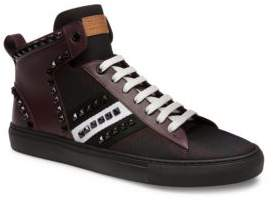 Bally Hedern Studded Plaid High Top Sneakers