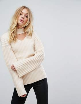Fashion Union Knitted Sweater With Choker Cut Out