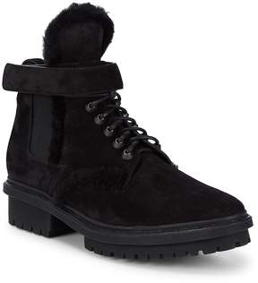 Balenciaga Men's Shearling-Trimmed Leather Ankle Boots