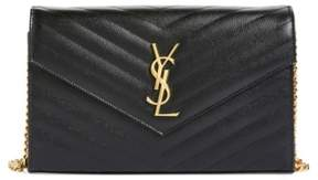 Saint Laurent Women's 'Large Monogram' Quilted Leather Wallet On A Chain - Black