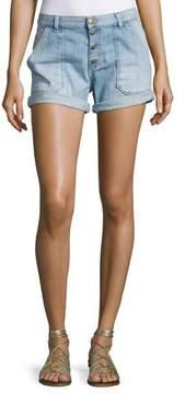 BA&SH Mira Button-Front Shorts, Light Blue
