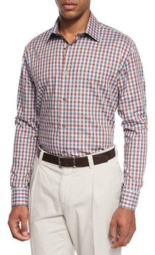 Ike Behar Chambray Check Sport Shirt, Red