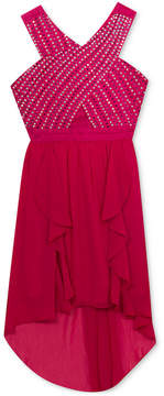 Rare Editions Embellished-Bodice High-Low Hem Dress, Big Girls