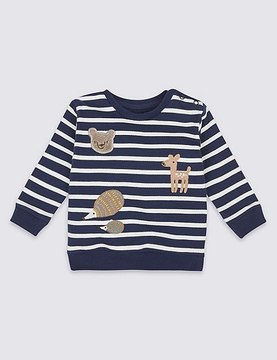Marks and Spencer Pure Cotton Striped Applique Sweatshirt
