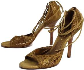 Nicole Miller Bronze Suede Sandal Heels