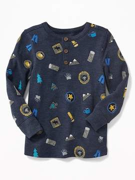 Old Navy Printed Thermal Henley for Toddler Boys