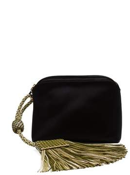 The Row Tassel Trim Satin Clutch Bag - Womens - Black Green