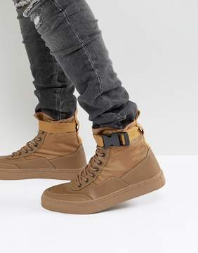 Asos High Top Sneaker Boots In Tan With Straps