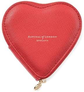Aspinal of London | Heart Coin Purse In Dahlia Saffiano | Dahlia saffiano