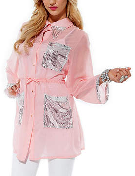 Lily Rose Sequin Sheer Button-Up Tunic - Plus