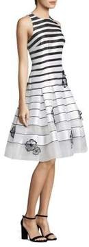 Carmen Marc Valvo Embellished Striped Drop-Waist Dress