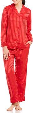 Cabernet Petite Shadow-Striped Satin Pajamas