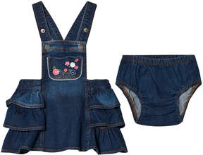 Mayoral Embroidered Flowers Denim Dungaree Dress