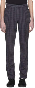 Acne Studios Navy Linen Check Boston Trousers