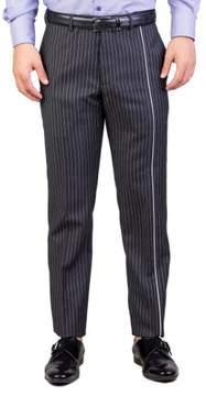 Christian Dior Men's Skinny Fit Striped Dress Pants Pinstriped Grey