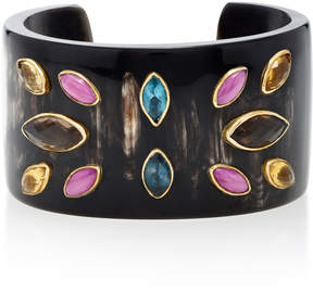 Ashley Pittman Ufalme Dark Horn and Multi-Stone Cuff