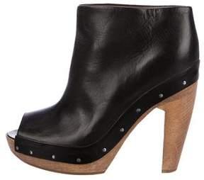 Marni Leather Peep-Toe Booties