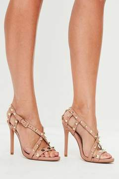 Missguided Nude Pyramid Cross Strap Heeled Sandals