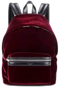 Saint Laurent Velvet and leather backpack - RED - STYLE