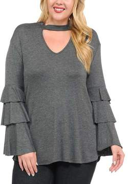 Bellino Charcoal Mock Neck-Cutout Tiered Bell-Sleeve Top - Plus