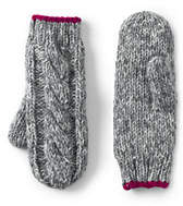Lands' End Girls Chunky Cable Mittens-Deep Sea Marl Stripe