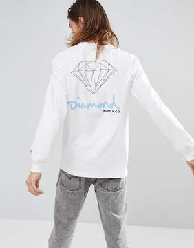 Diamond Supply Co. Long Sleeve T-Shirt With Original Sign Back Print in White