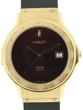 Hublot Classic Elegant 18K Yellow Gold Burgundy Dial 36mm Date Watch