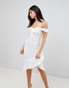 AX Paris Off Shoulder Bodycon Dress With Frill