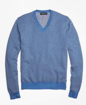 Brooks Brothers Supima® Cotton Cashmere Jacquard V-Neck Sweater