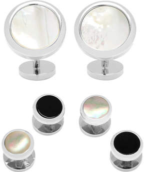 Cufflinks Inc. Double Side Mother of Pearl Round Beveled Stud Set (Men's)