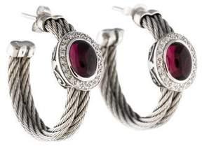 Charriol 18K Garnet & Diamond Cable Hoop Earrings