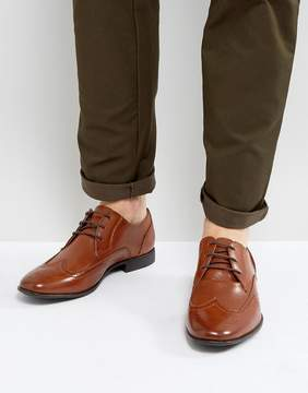 Asos Brogue Shoes In Faux Tan Leather