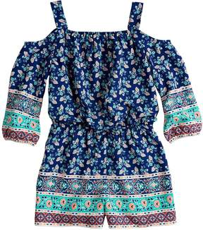 My Michelle Girls 7-16 Printed Cold Shoulder Romper