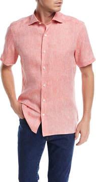 Ermenegildo Zegna Heathered Linen Short-Sleeve Sport Shirt, Orange