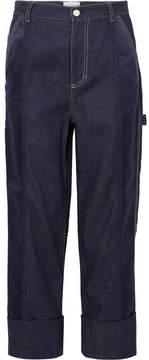 3.1 Phillip Lim Cropped Satin-paneled Boyfriend Jeans - Indigo