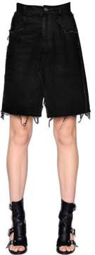 Damir Doma Cotton Denim Skirt W/ Raw Cut Hem