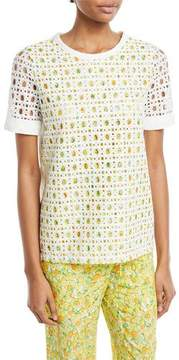 Moschino Lemon-Print Eyelet T-Shirt