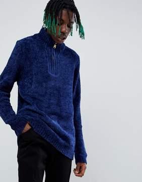Asos Heavyweight Chenille Half Zip Sweater In Dark Blue