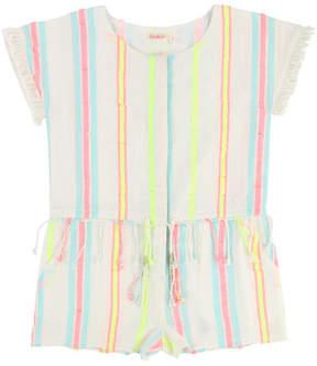 Billieblush Short-Sleeve Woven Striped Romper, Size 4-8