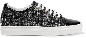 Lanvin Patent Leather-trimmed Tweed Sneakers - Black