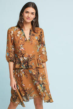 d.RA Printed Flutter-Sleeve Shirtdress