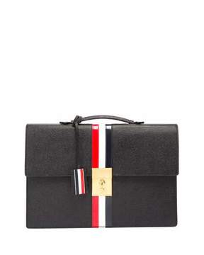 Thom Browne Leather Attache Case with Tricolor Stripes, Black