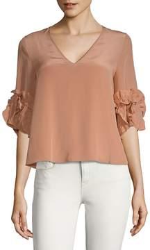 See by Chloe Women's Ruffled Sleeve Silk Top