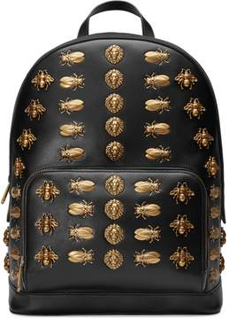 Animal studs leather backpack