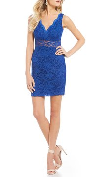 B. Darlin Glitter Lace Sheath Dress