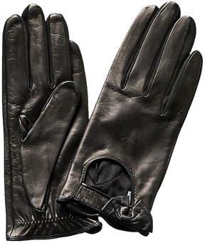 Portolano Black Leather Driving Gloves
